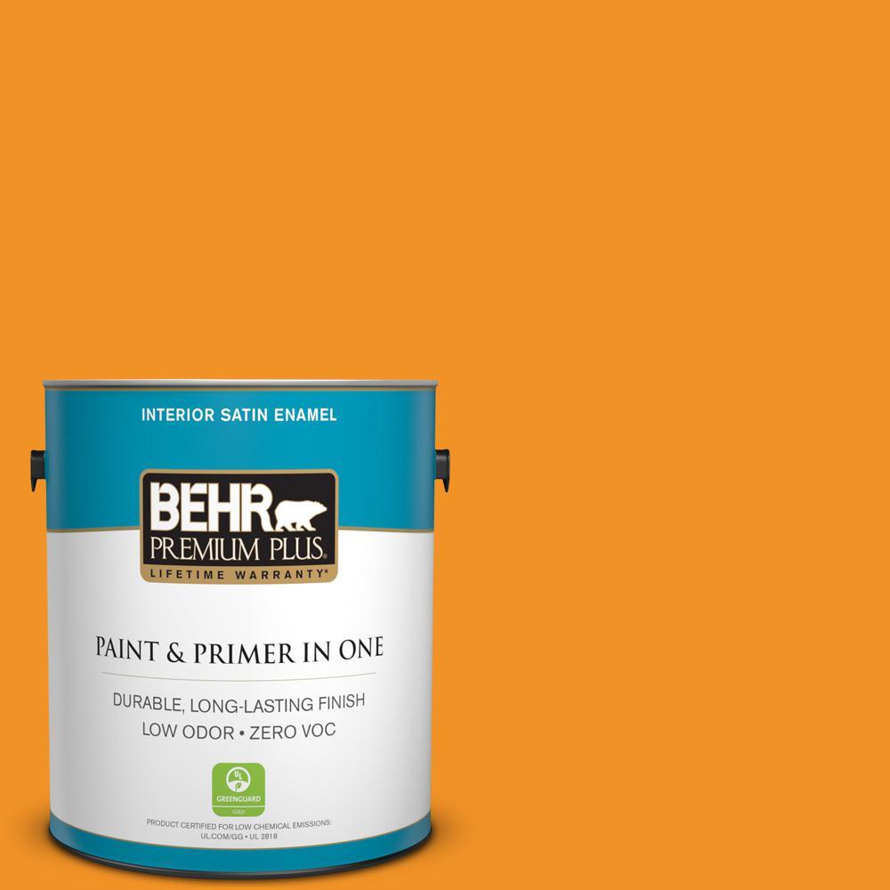 BEHR Premium Plus 1-gal. #290B-7 Yam Zero VOC Satin Enamel Interior Paint