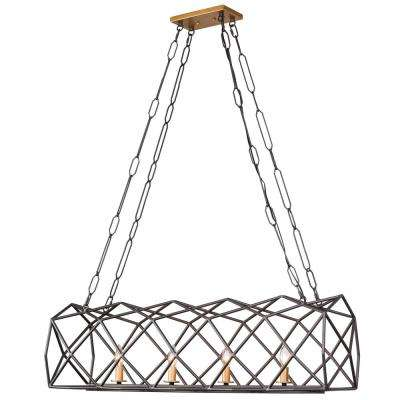 Geo 4-Light Antique Gold with Rustic Bronze Linear Pendant