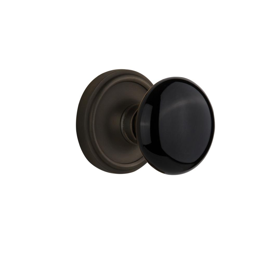 Classic Rosette 2-3/8 in. Backset Oil-Rubbed Bronze Passage Hall/Closet Black