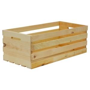 Crates and Pallet 27 in. x 12.5 in. x 9.5 in. X-Large Wood Crate Storage Tote Natural Pine