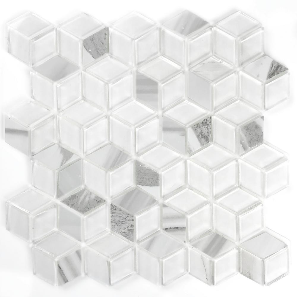 Musico Accent Corteccia White Diamond Mosaic 2 in. x 2 in. Glossy & Matte Glass Peel & Stick Wall Tile (7 Sq. ft./Case)