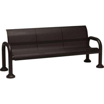Harbor 6 ft. Contract Perforated Bench with Back in Textured Black
