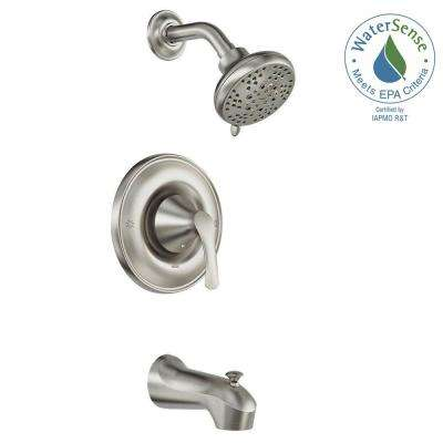 Darcy Single-Handle 5-Spray 1.75 GPM Tub and Shower Faucet with Valve in Spot Resist Brushed Nickel (Valve Included)