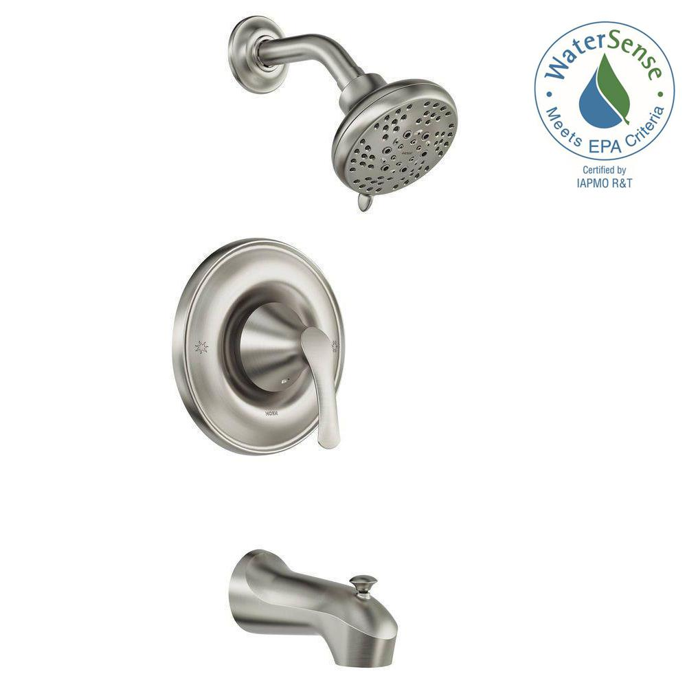 MOEN Darcy Single Handle 5 Spray Tub And Shower Faucet With Valve In Spot  Resist Brushed Nickel (Valve Included) 82550SRN   The Home Depot