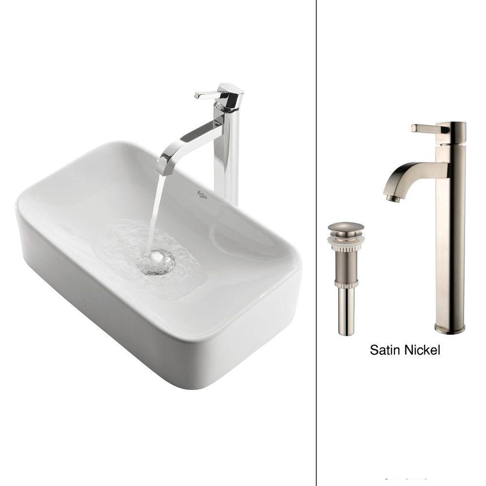 Soft Rectangular Ceramic Vessel Sink in White with Ramus Faucet in Satin Nickel