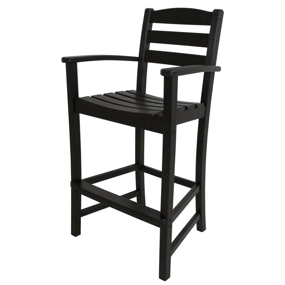 La Casa Cafe Black Plastic Outdoor Patio Bar Arm Chair