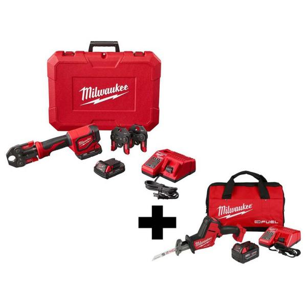 M18 18-Volt Lithium-Ion Cordless Short Throw Press Tool Kit with 3 PEX Crimp Jaws with Free M18 FUEL HACKZALL Saw Kit