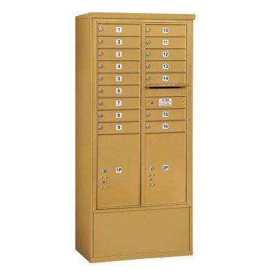 3900 Horizontal Series 16-Compartment 2-Parcel Locker Free Standing Mailbox
