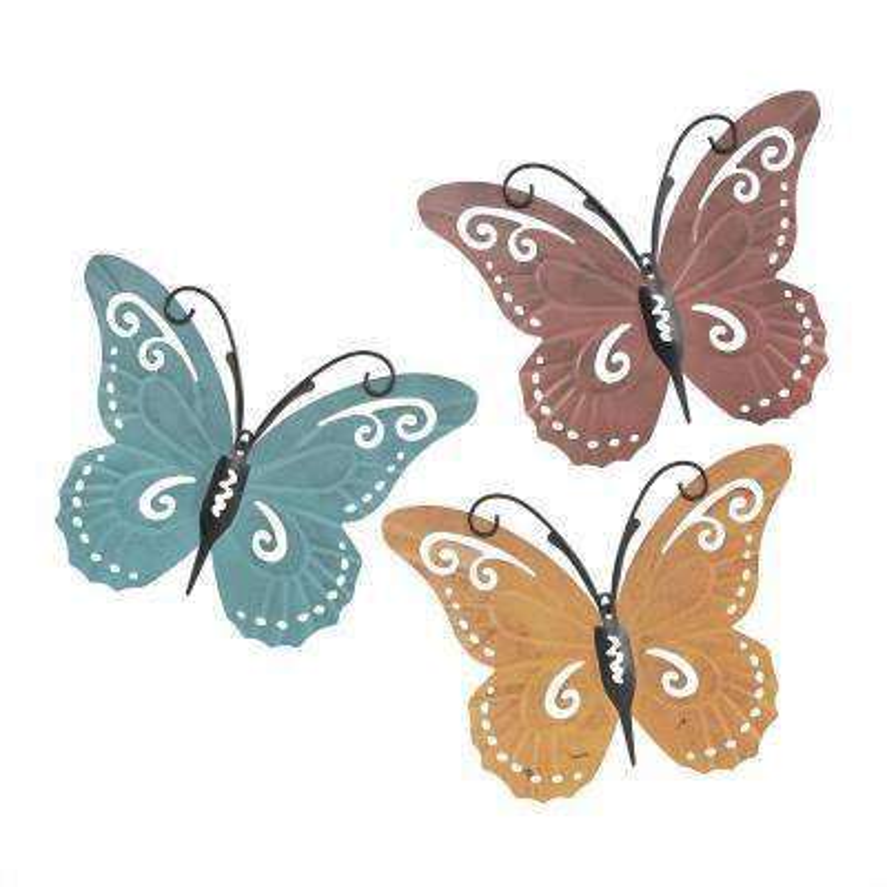 3-Piece Metal Butterfly Wall Art Set
