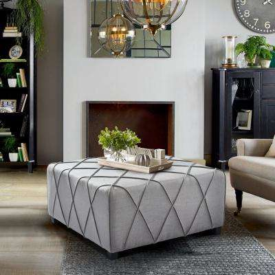 Gemini Silver Linen Contemporary Ottoman with Piping Accents and Wood Legs