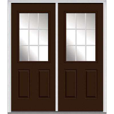 60 in. x 80 in. White Internal Grilles Right-Hand Inswing 1/  sc 1 st  Home Depot & Clear - 1/2 Lite - Brown - Doors With Glass - Steel Doors - The Home ...