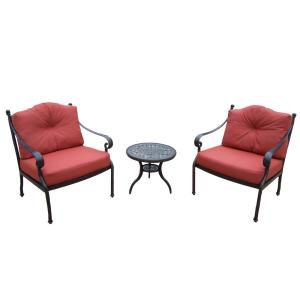 3-Piece Aluminum Outdoor Bistro Set with Red Cushions by