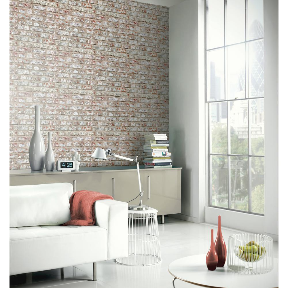 Arthouse Rustic Grey Brick Effect Unpasted Wallpaper