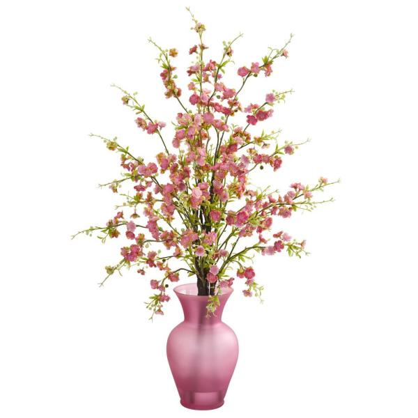 Nearly Natural Indoor Cherry Blossom Artificial Arrangement in Rose Vase 1590-PK