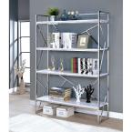 70.25 in. White/Silver Metal 4-shelf Accent Bookcase with Open Back