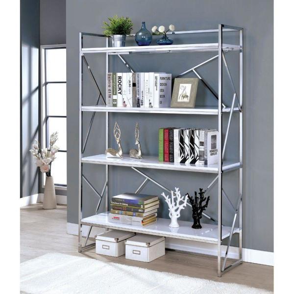 Four Shelf White and Silver Metal Bookcase with Geometric Sides and Back Design