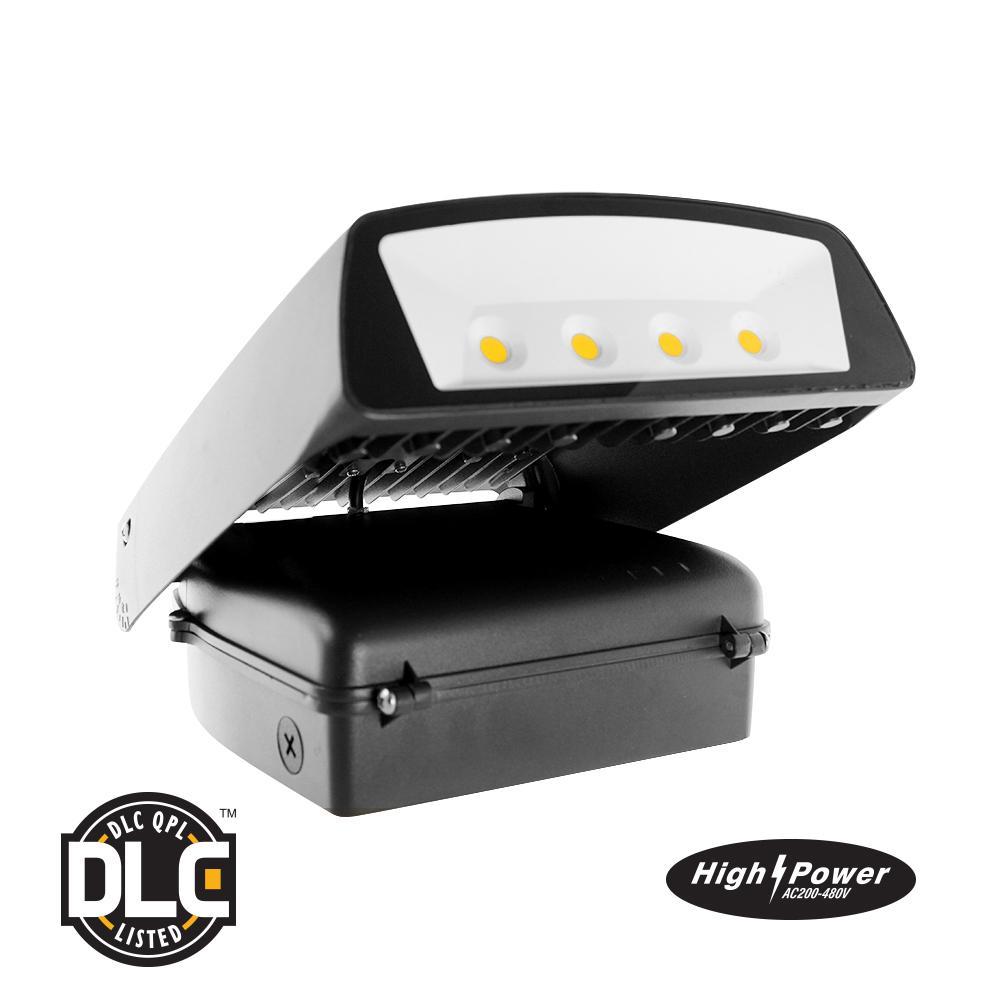 High Voltage 70-Watt Black Outdoor Integrated LED Wall Pack Light