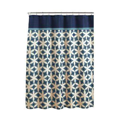 Diamond Weave Textured 70 in. W x 72 in. L Shower Curtain with Metal Roller Rings in Harajuku Blue