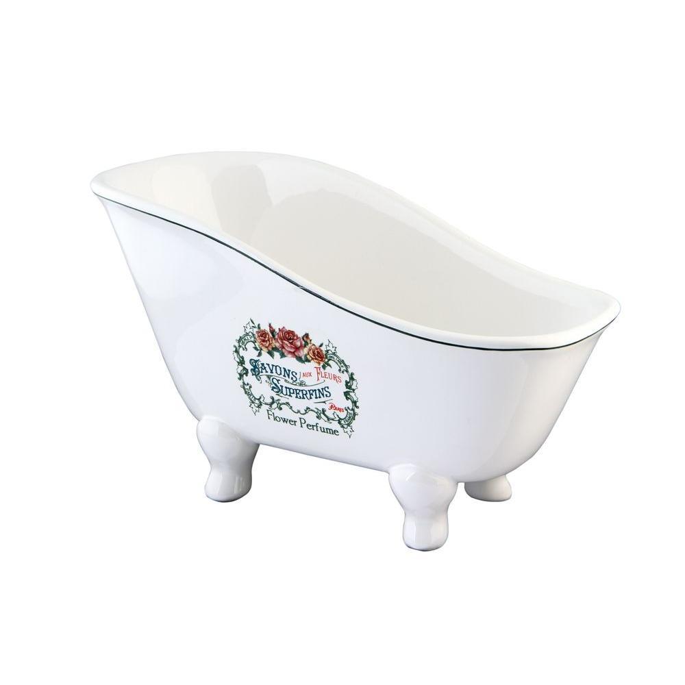 Savons Aux Fleurs Slipper Claw Foot Tub Soap Dish in White-HBATUBSRW ...