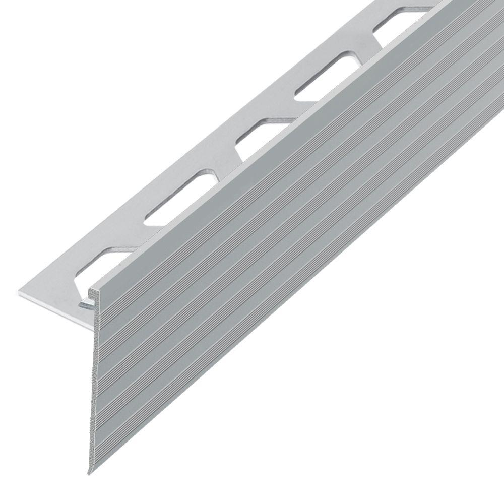 Schluter Schiene-Step Satin Nickel Anodized Aluminum 3/8 in. x 8 ft. 2-1/2 in. Metal Stair Nose Tile Edging Trim