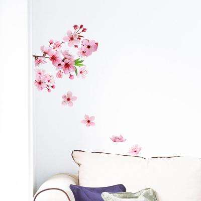 24.6 in. x 12.3 in. Pink Cherry Blossom Wall Decal