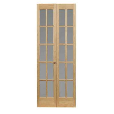 32 in. x 80 in. Classic French 10-Lite Opaque Glass/Wood Interior Bi-fold Door