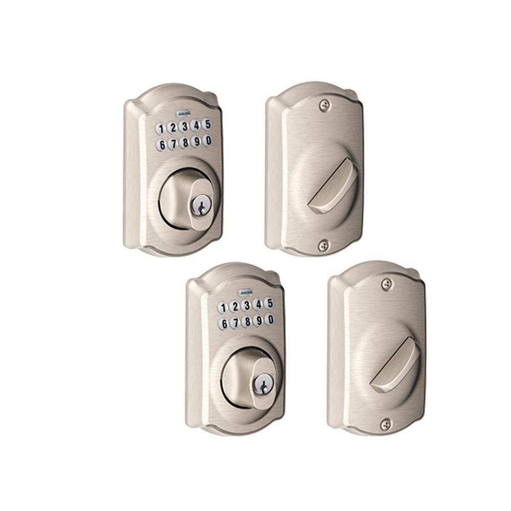 Schlage Camelot Satin Nickel Keypad Electronic Door Lock Deadbolt 2 Pack Be365 Cam 619 2p The Home Depot