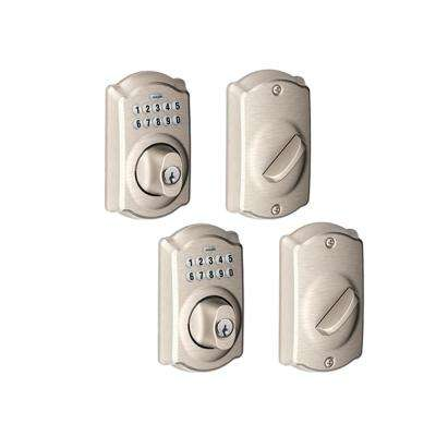 Camelot Satin Nickel Keypad Electronic Deadbolt (2-Pack)