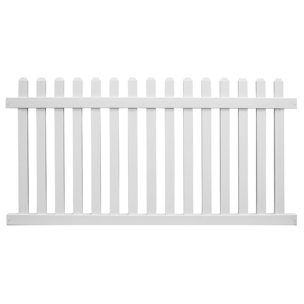 Chelsea 3 ft. H x 8 ft. W White Vinyl Picket Fence Panel