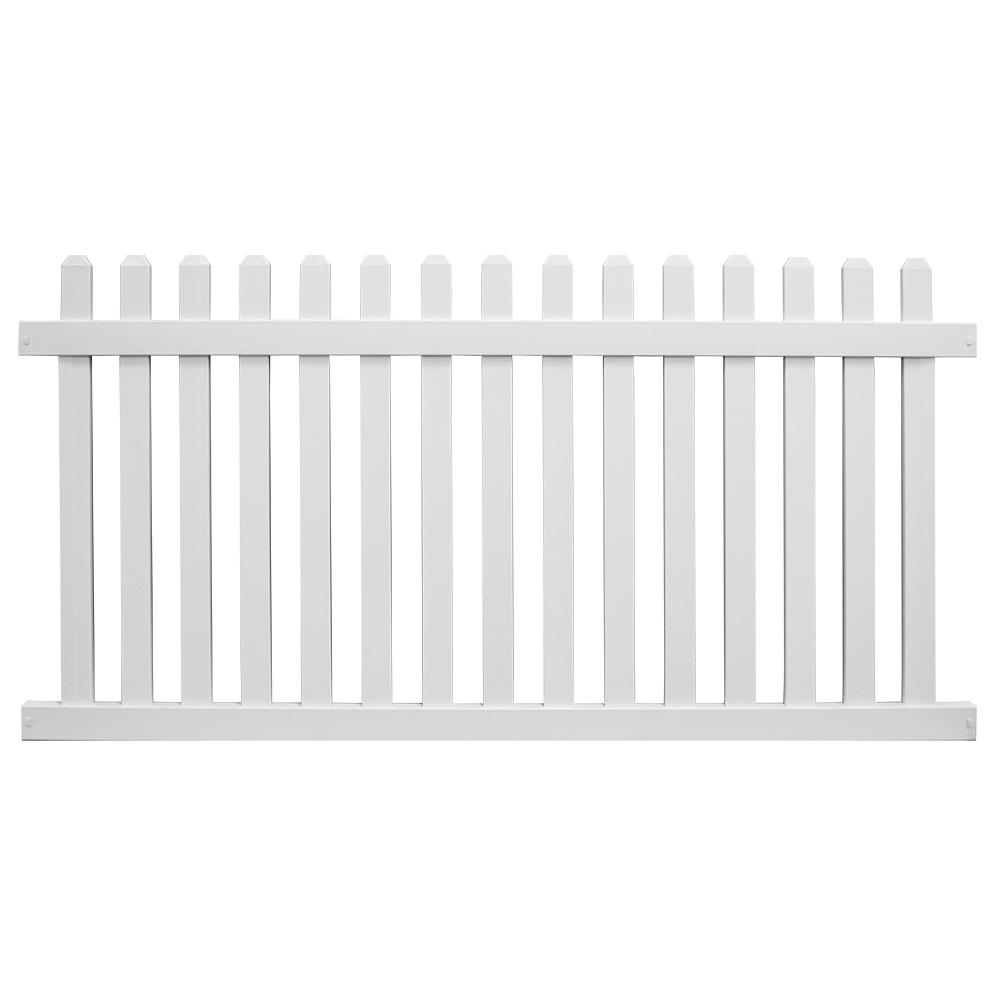 Chelsea 4 ft. H x 8 ft. W White Vinyl Picket