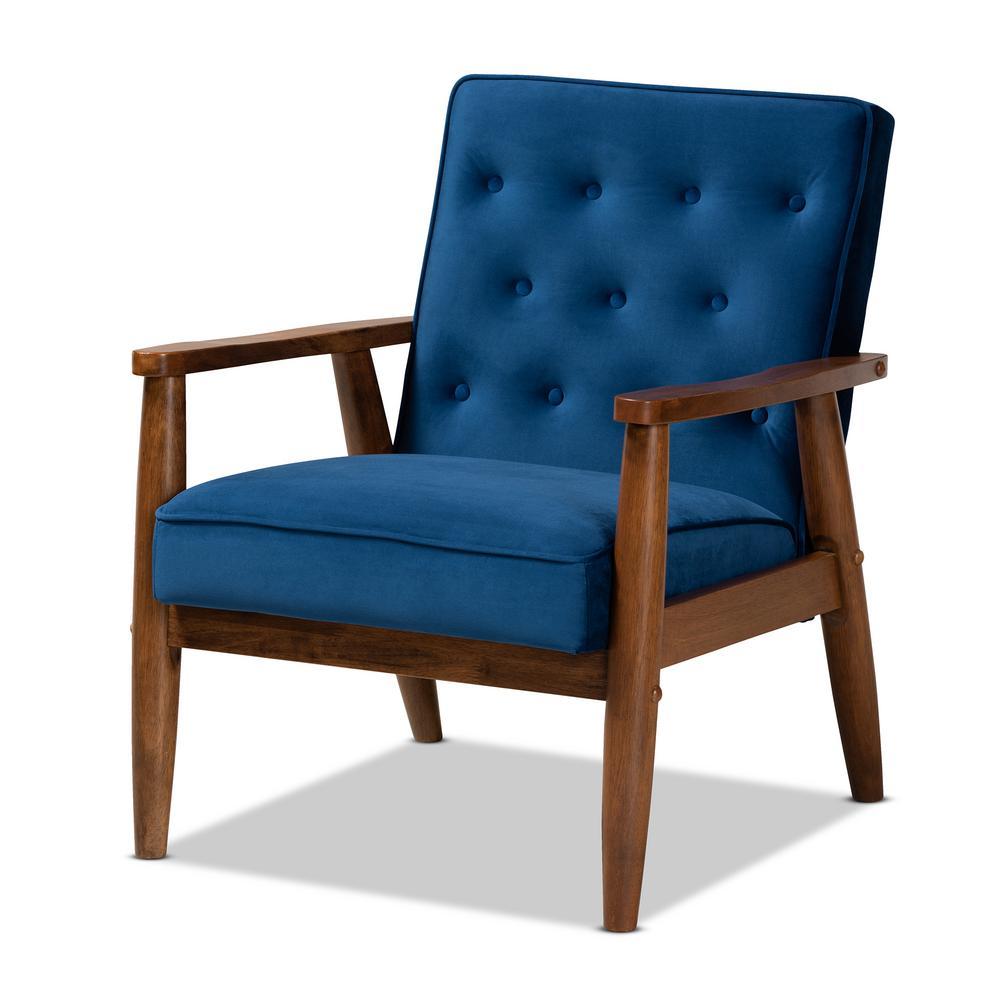 Sorrento Navy Blue Velvet Lounge Chair