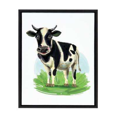 "Sylvie ""Cow Illustration"" by Jaie Ramlee Framed Canvas Wall Art"