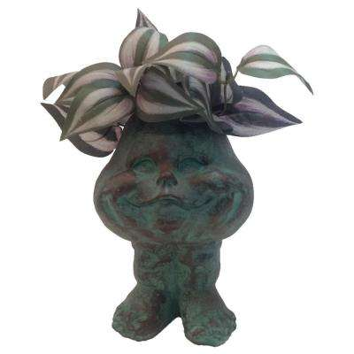 8.5 in. Patina Baby the Muggly Face Statue Resin Planter Holds 3 in. Pot
