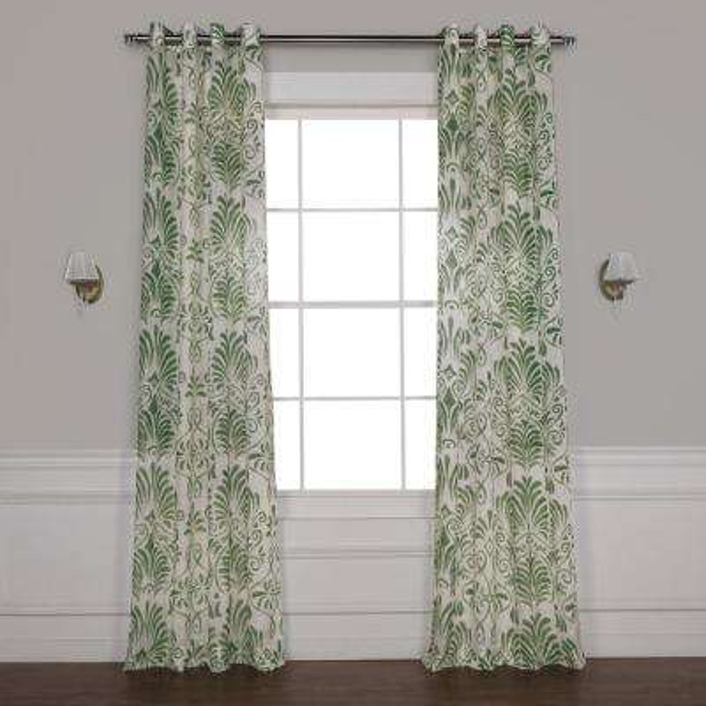 Xenia Green Grommet Printed Sheer Curtain - 50 in. W x 108 in. L