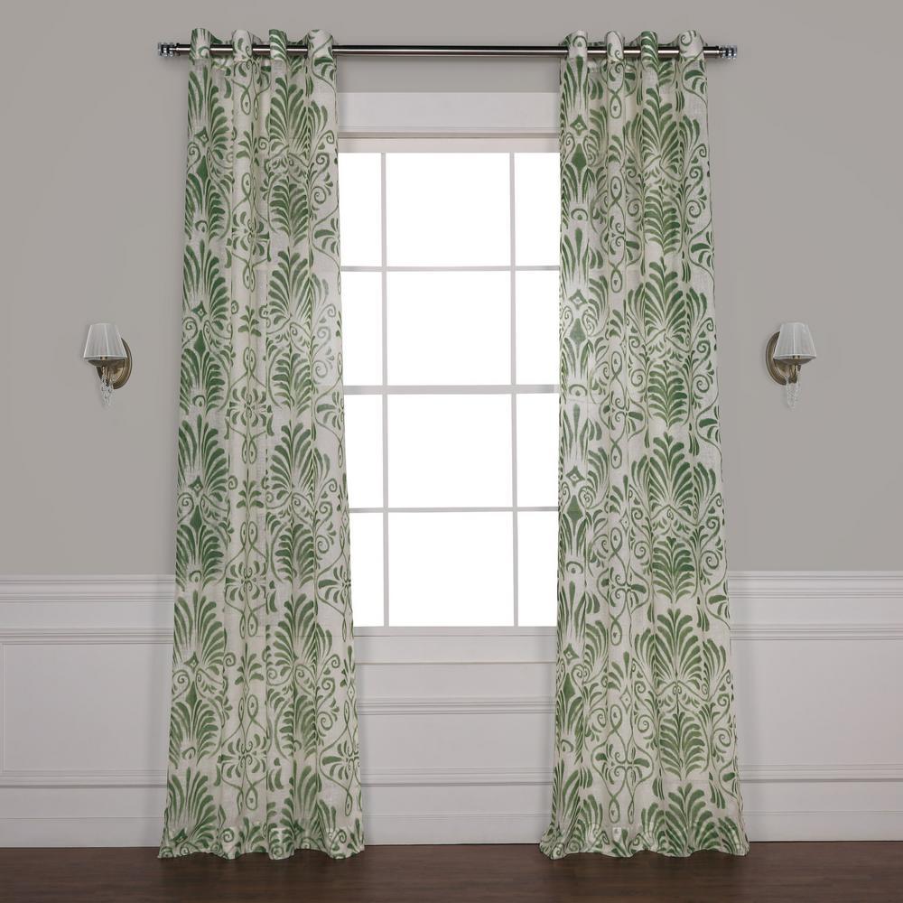 Xenia Green Grommet Printed Sheer Curtain - 50 in. W x 120 in. L