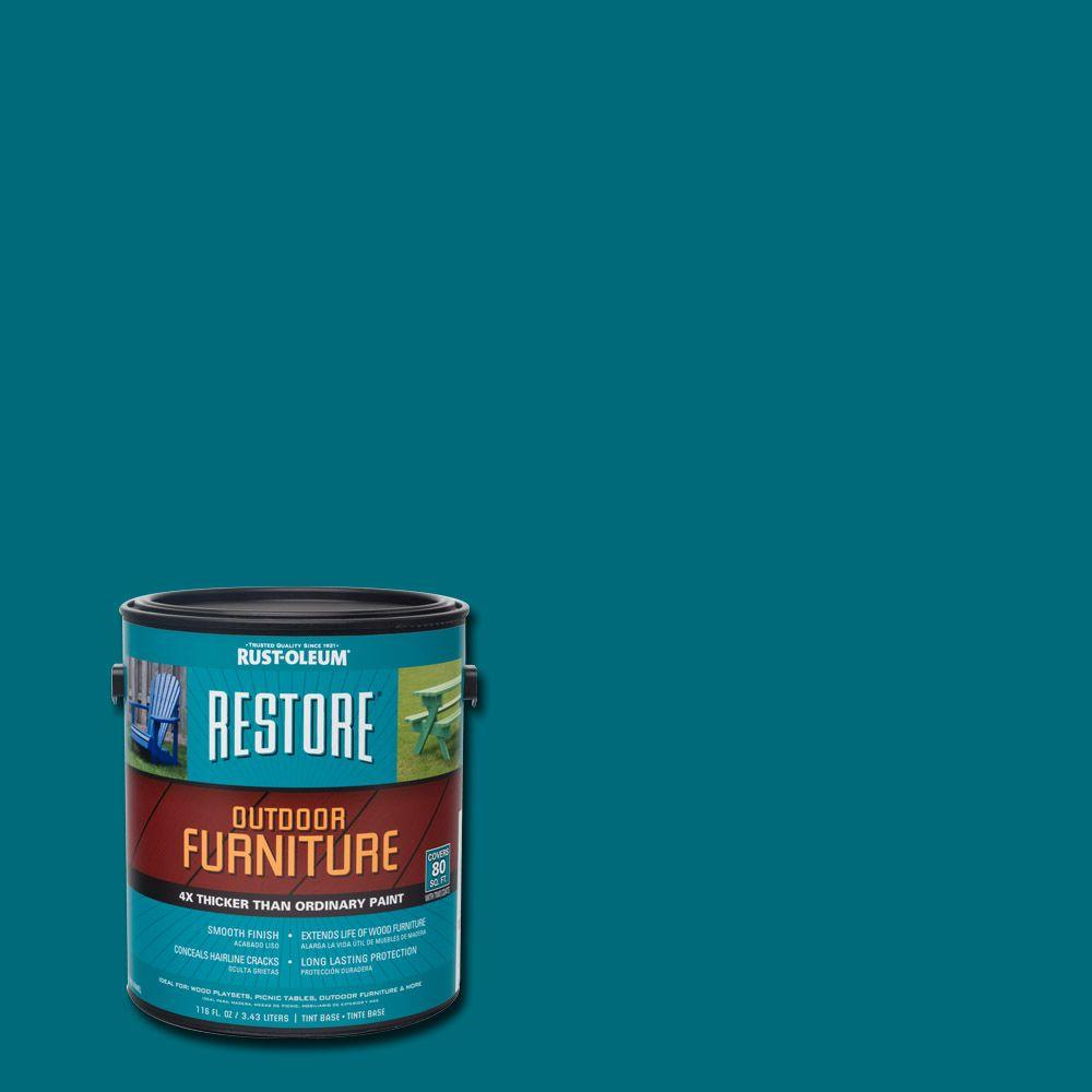 Rust Oleum Restore 1 Gal Lagoon Outdoor Furniture Exterior Solid Stain 291280 The Home Depot