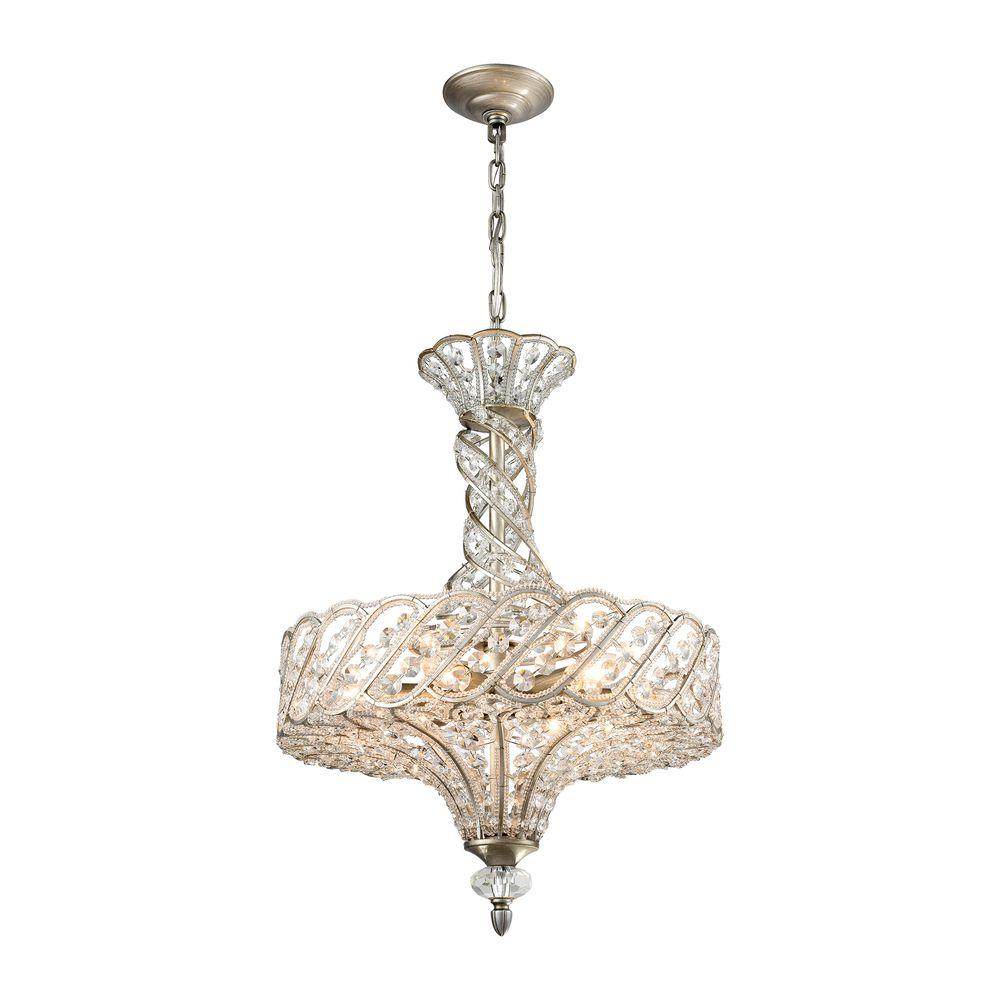Cumbria 6-Light Aged Silver Chandelier With Metal And Crystal Shade