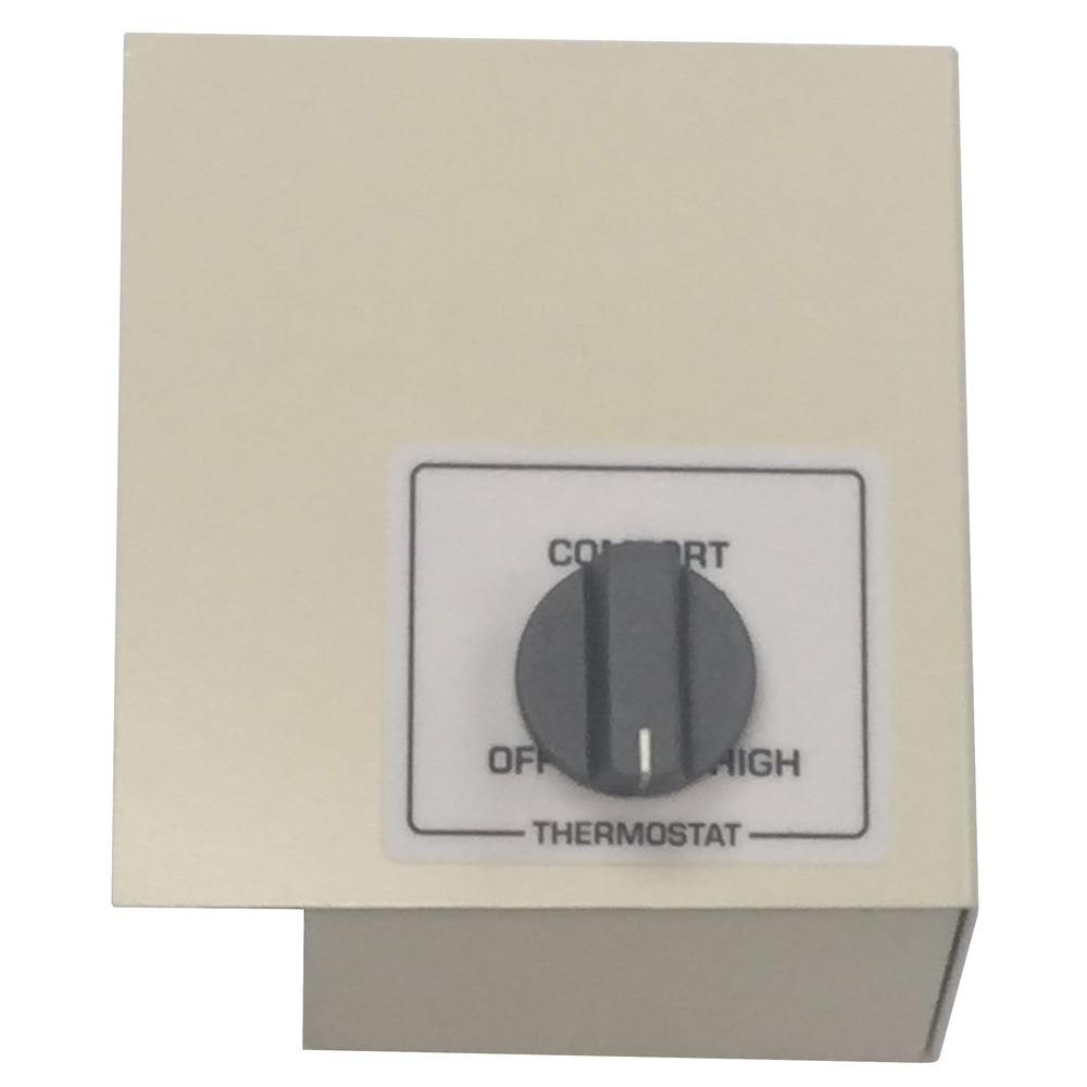 King Double Pole Left Mount Thermostat Kit, White