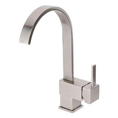 Single Hole Single-Handle Vessel Bathroom Faucet with Swivel Spout in Brushed Nickel