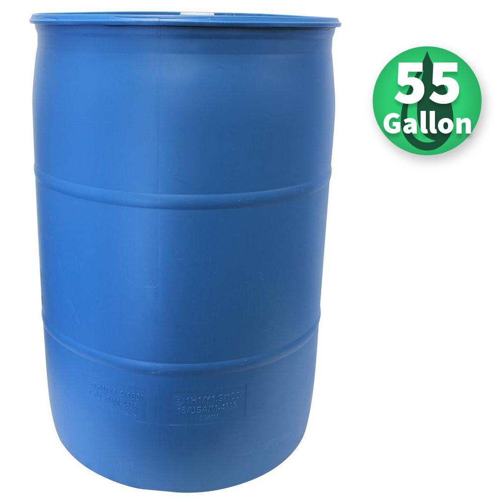 Emsco 55 Gal. Paintable Blue Industrial Plastic Rain Barrel