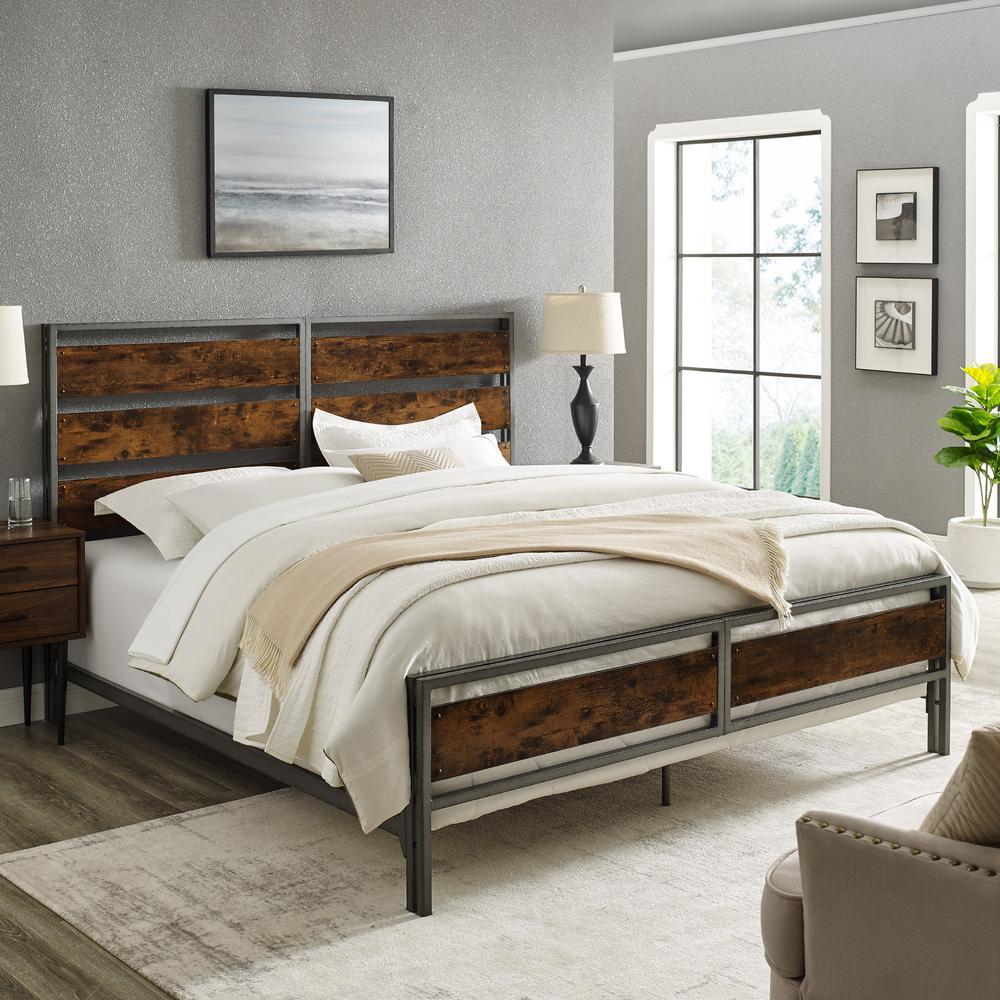 Reclaimed Barnwood King Size Industrial Slat Bed