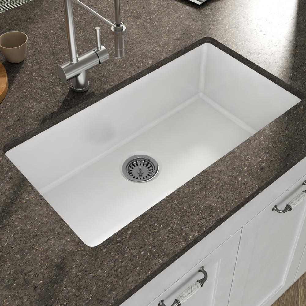 Empire Industries Yorkshire Undermount Fireclay 31 5 In Single Bowl Kitchen Sink With Grid And Strainer White