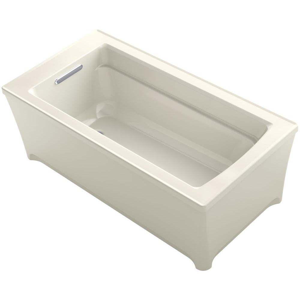 KOHLER Archer 5 ft. Acrylic Flat Bottom Non-Whirlpool Bathtub in Biscuit