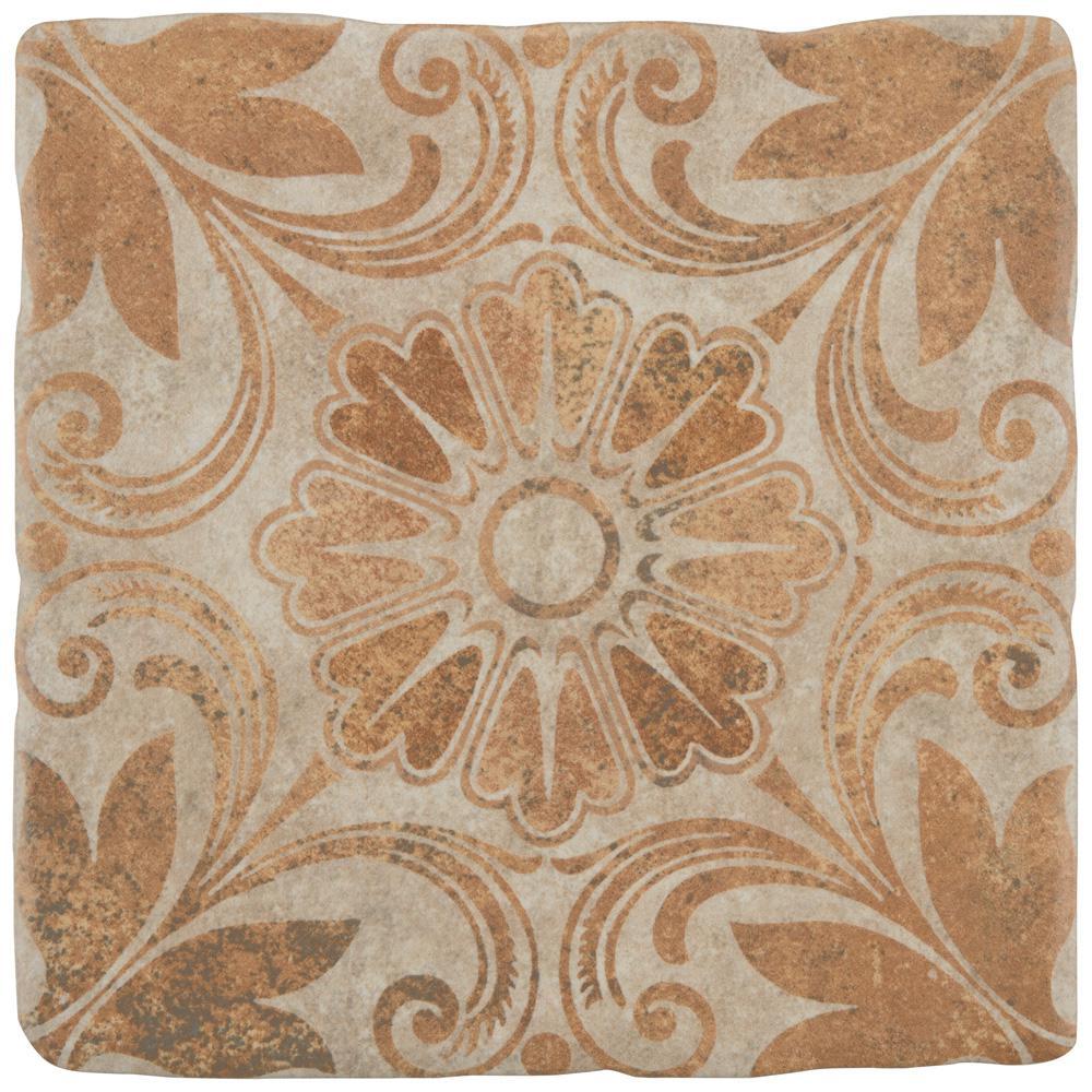 Merola Tile Costa Arena Decor Dahlia Encaustic 7-3/4 in  x 7-3/4 in   Ceramic Floor and Wall Tile (11 11 sq  ft  / case)