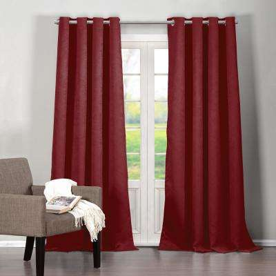 Quincy 38 in. W x 95 in. L Polyester Window Panel in Red