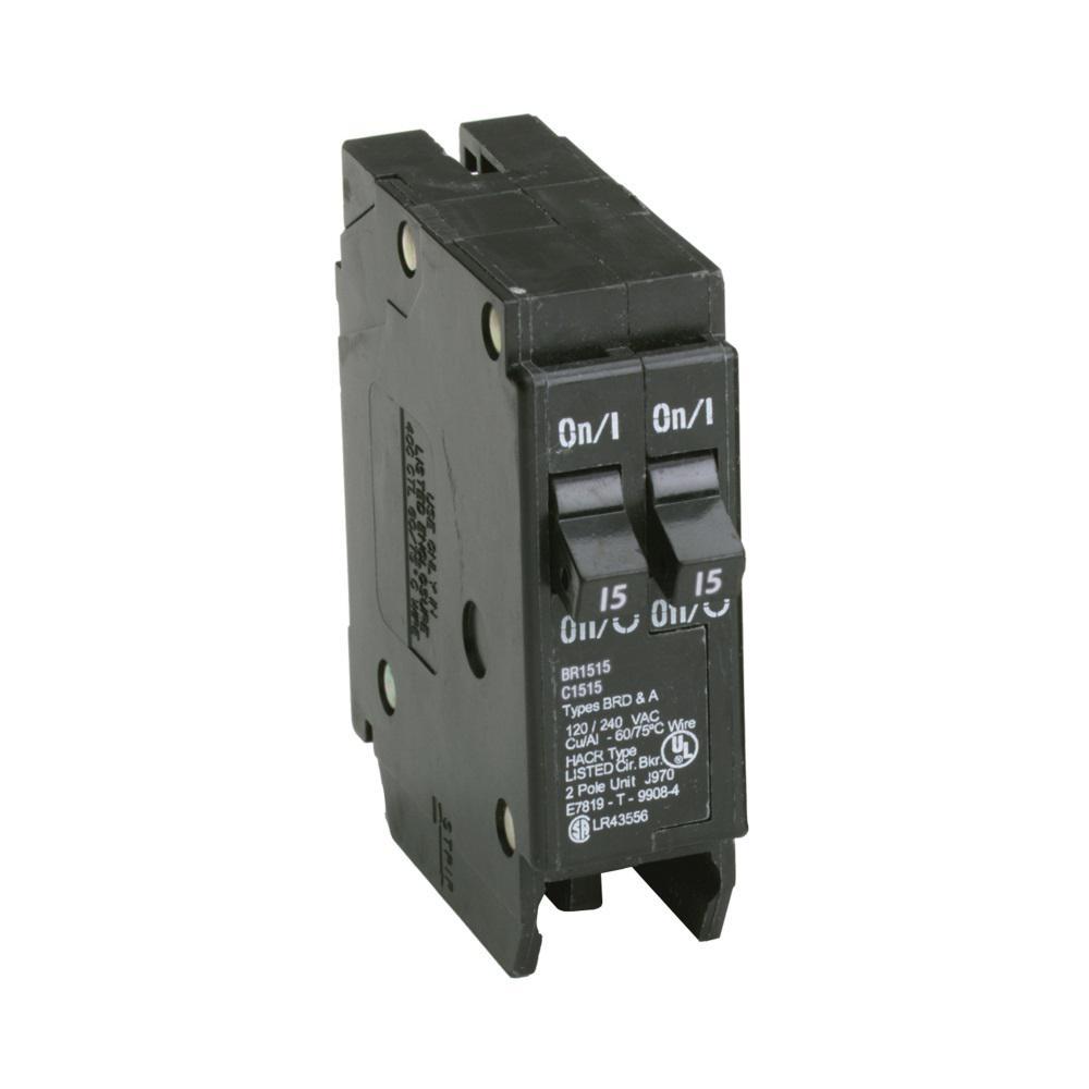 BR 2-15 Amp Single Pole Tandem Non-CTL Circuit Breaker