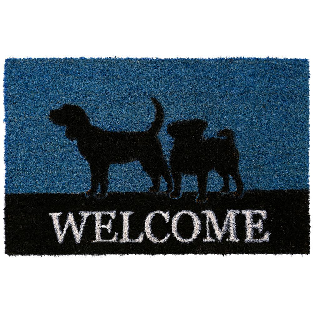 Comfy Pooch Welcome Blue 18 in. x 28 in. Coir Mat