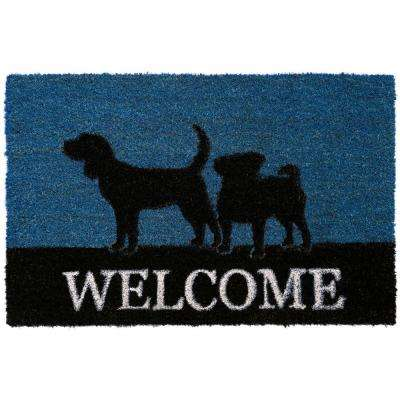 Comfy Pooch Welcome Blue 18 in. x 28 in. Coir Mat