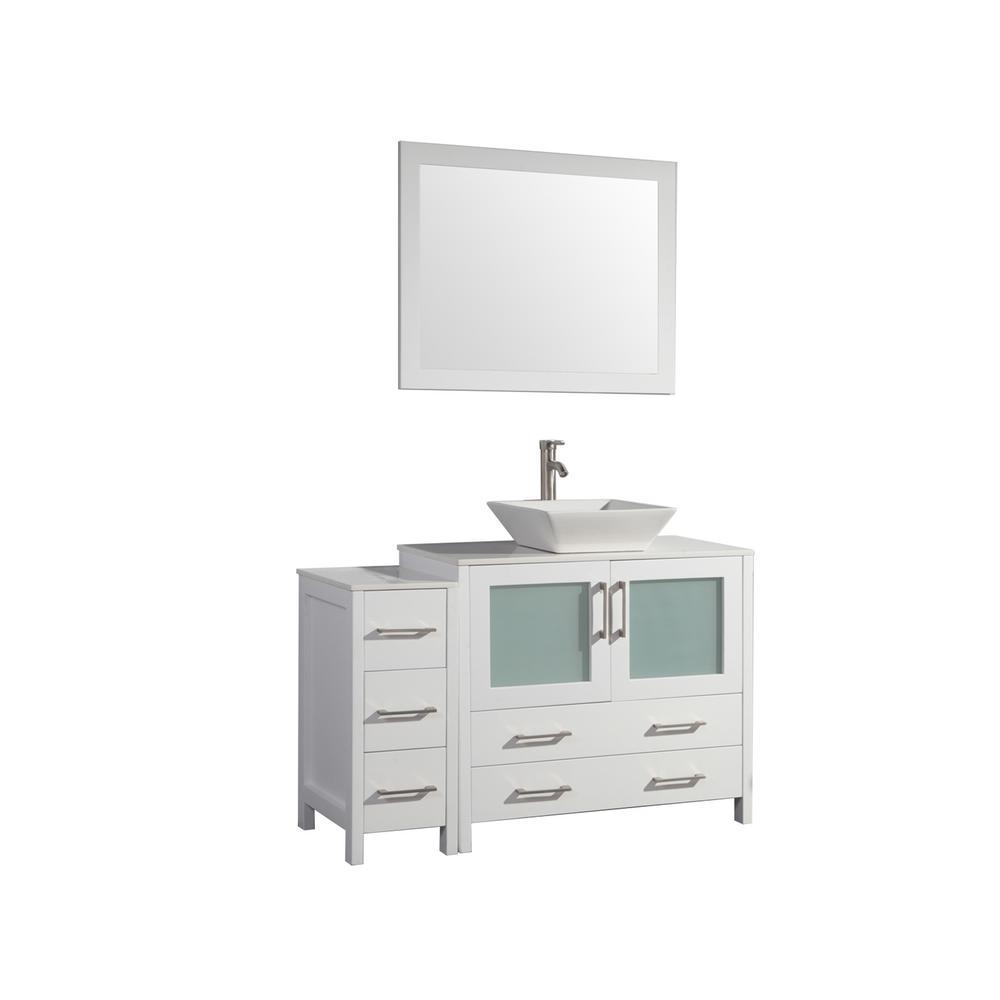 48 in. W x 18.5 in. D x 36 in. H Bathroom Vanity in White with Single Basin Vanity Top in White Ceramic and Mirror