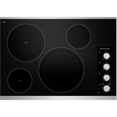 Architect Series II 30 in. Ceramic Glass Electric Cooktop in Stainless Steel with 4 Elements including EvenHeat Elements